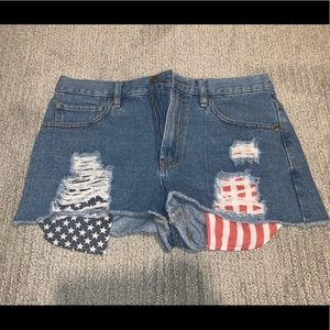 Forever 21 American flag pocket jean shorts